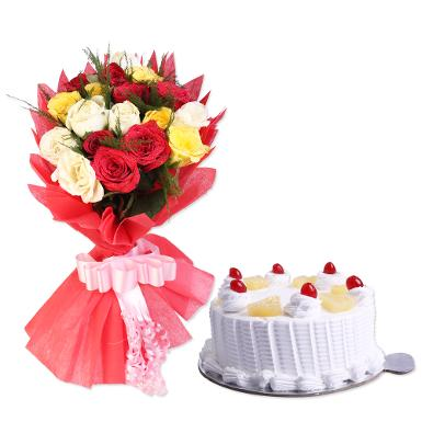 Buy Mixed Roses With Eggless Cake