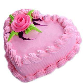 buy Strawberry Heart Shape Eggless Cake