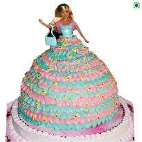 Barbie Doll Eggless Cake