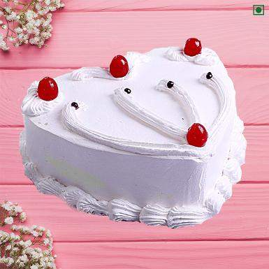 Buy Vanilla Heart Shape Eggless Cake