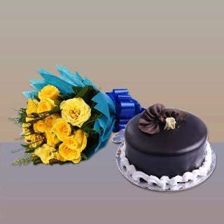 buy Yellow Roses And Chocolate Cake