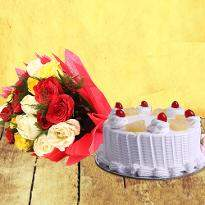 Mixed Roses With Cake