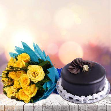 Buy Yellow Roses And Chocolate Cake
