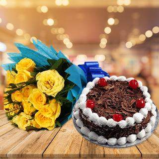buy Friends Forever Roses And Cake