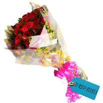 Style And Bright Red Roses Bunch