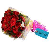 Romantic Love Red Roses Bunch