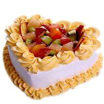 Delectable Fruit Heart Cake