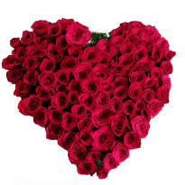Heart Shape arrangement of Red Roses