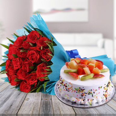 Buy Red Roses N Fruity Treat