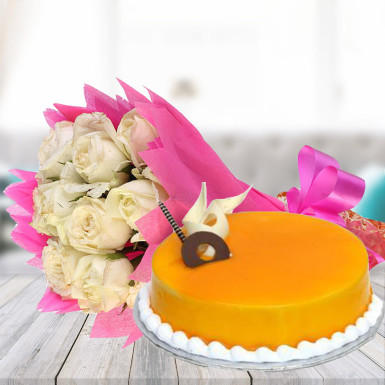 Buy White Roses N Mango Cake