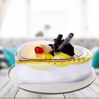 Lovely Pineapple Heart Shape Cake