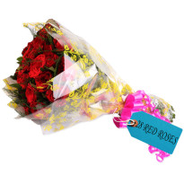 Colorful Celebration Red Roses Bunch