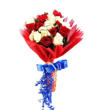 buy Profound Love  A bunch of Red and White Roses