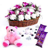 Basket of Orchids and Carnations with Chocolates and Teddy Bear