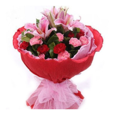 Buy Red and Pink Carnations with Pink Lilies in Red Packing