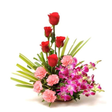 buy Basket of Orchids; Pink Carnation and Red Roses