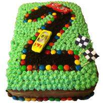 Number Formation Racing Track Shape Cake