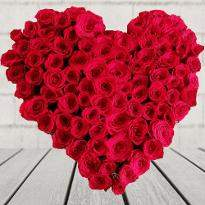 Heart Shape arrangement of Red Roses