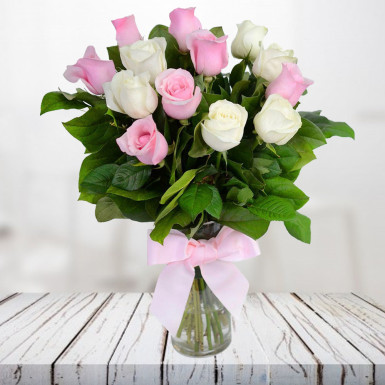 Pink and white roses bunch winni pink and white roses bunch mightylinksfo