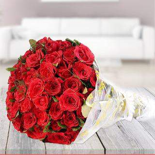 Birthday Wishes Red Roses Bunch