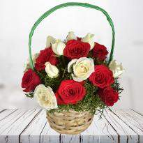 Radiant Wishes  A basket of Red and  White Roses