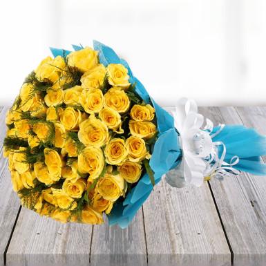 buy Elegant Yellow Roses Bunch