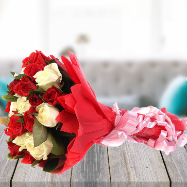 Buy Scintillating Beauty A bouquet of Red and White Roses