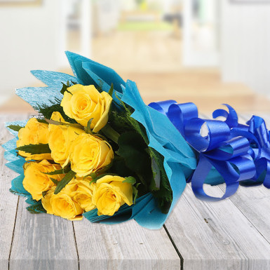 Buy Blooming Yellow Roses Bunch