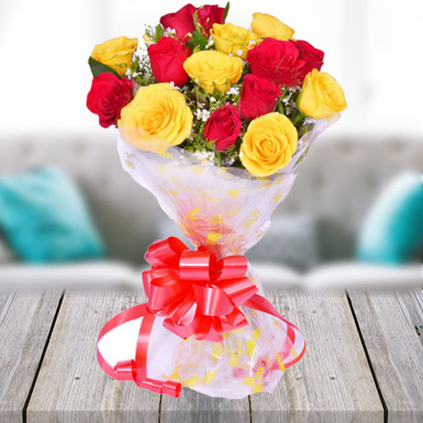 Buy Red And Yellow  Roses Bunch