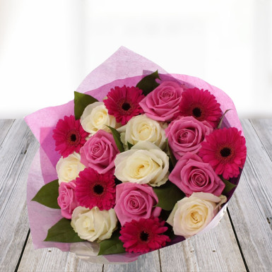buy Beautiful You  A bunch of 6 Pink Roses 6 White Roses and 6 Pink Gerbera