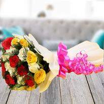 Memorable Moments A bouquet of  Multicolored Roses