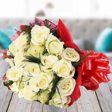 Buy Best Beauty White Roses Bunch