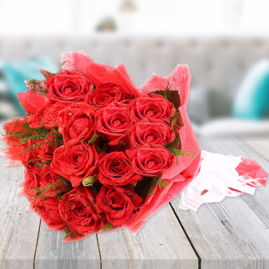 Buy Elegant Love Red Roses in Red Packing