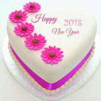 New Year Heart Shape Cake