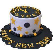 Midnight Striking New Year Choco Vanilla Cake