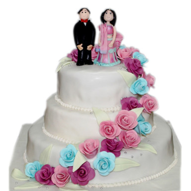 Three Tear Wedding Cakes.Beautiful Rose 3 Tier Wedding Cake