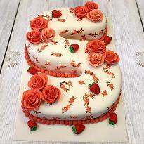Letter S strawberry Cake