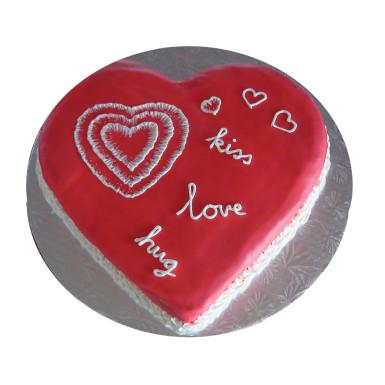 Buy Red velvet valentine heart shape cake