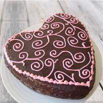 Full of love heart shape chocolate cake