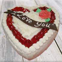 I love you heart shape vanilla cake
