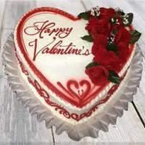 Valentine special red roses Vanilla cake