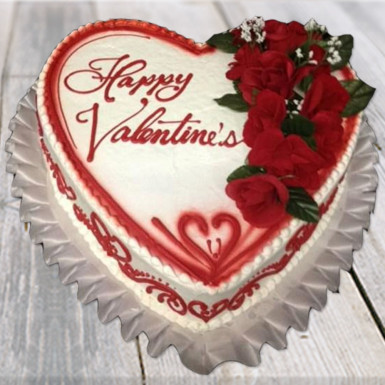Buy Valentine special red roses Vanilla cake