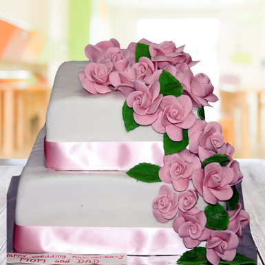 Buy Pink floral Wedding cake