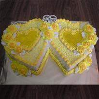 Special couple pineapple double heart shape cake
