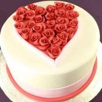 Elegant Anniversary Fondant Cake