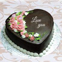 Chocolate valentine heart shape cake