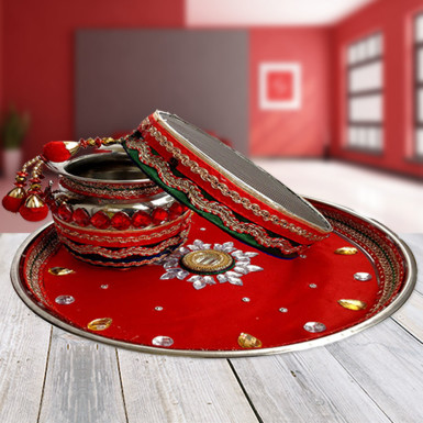 Buy Red Karwa Chauth Decorated Thali