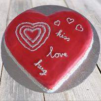 Red velvet valentine heart shape cake