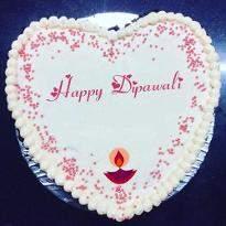 Vanilla Heart Shape Diwali Cake