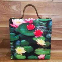 Lotus Flower Print Handbag